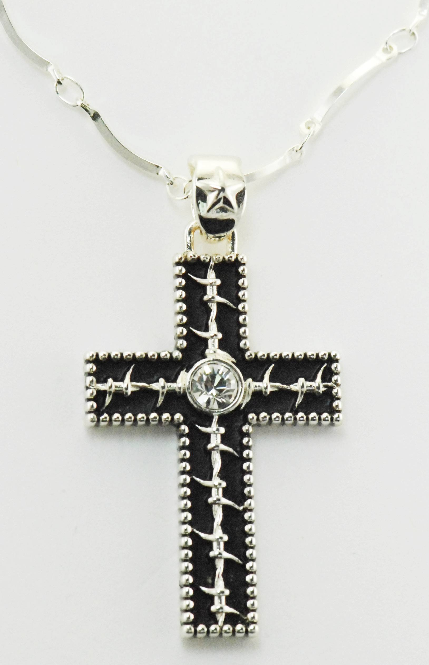 Western Edge Jewelry Barb Wire Cross Necklace