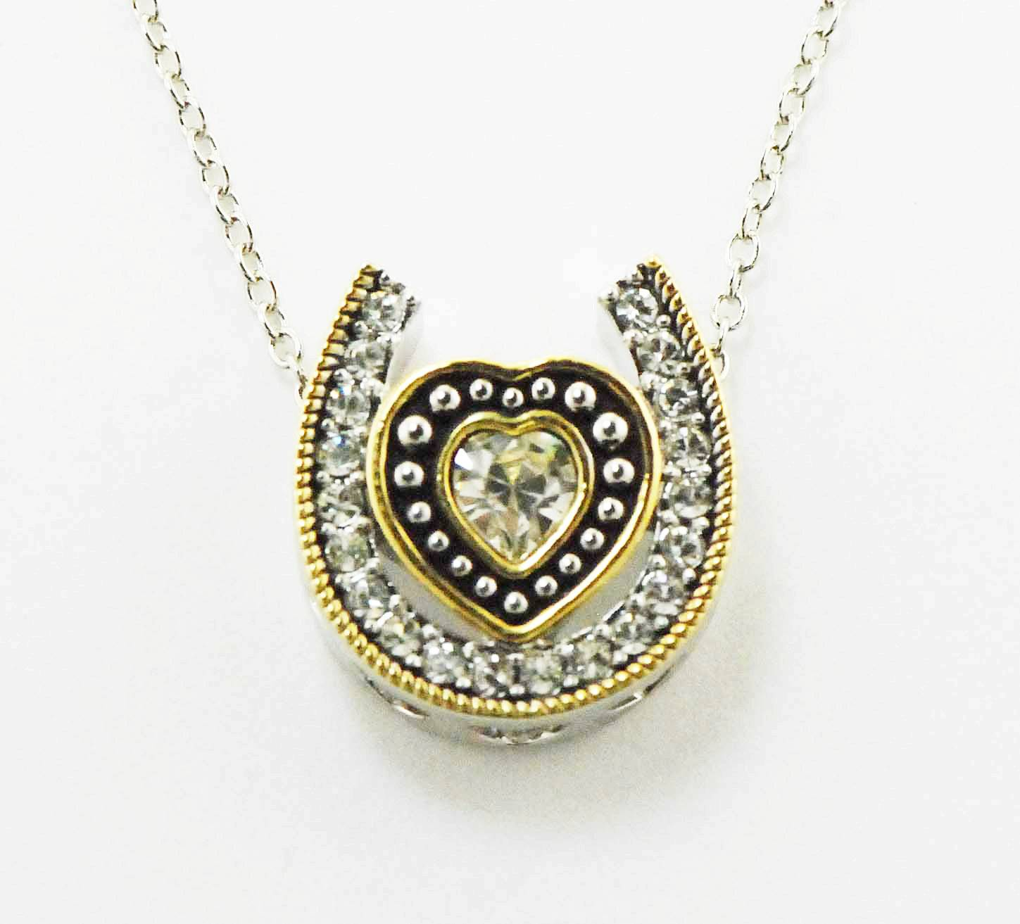 Western Edge Jewelry Heart & Horseshoe Rope Necklace