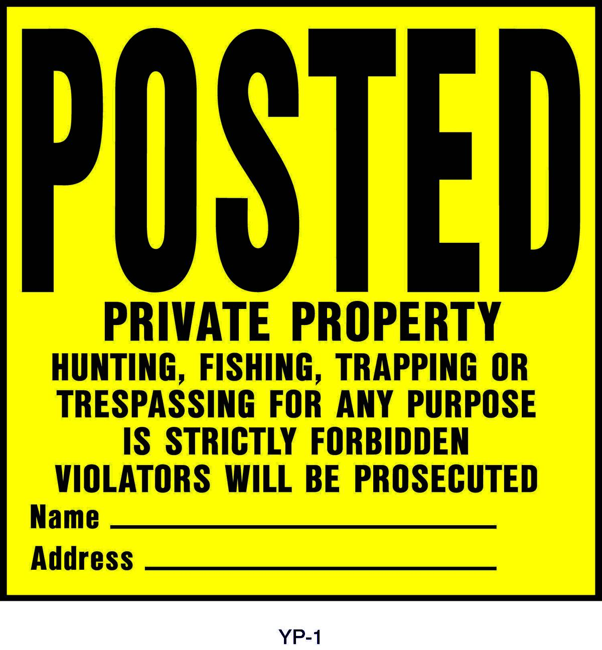 Posted Private Property Property Sign
