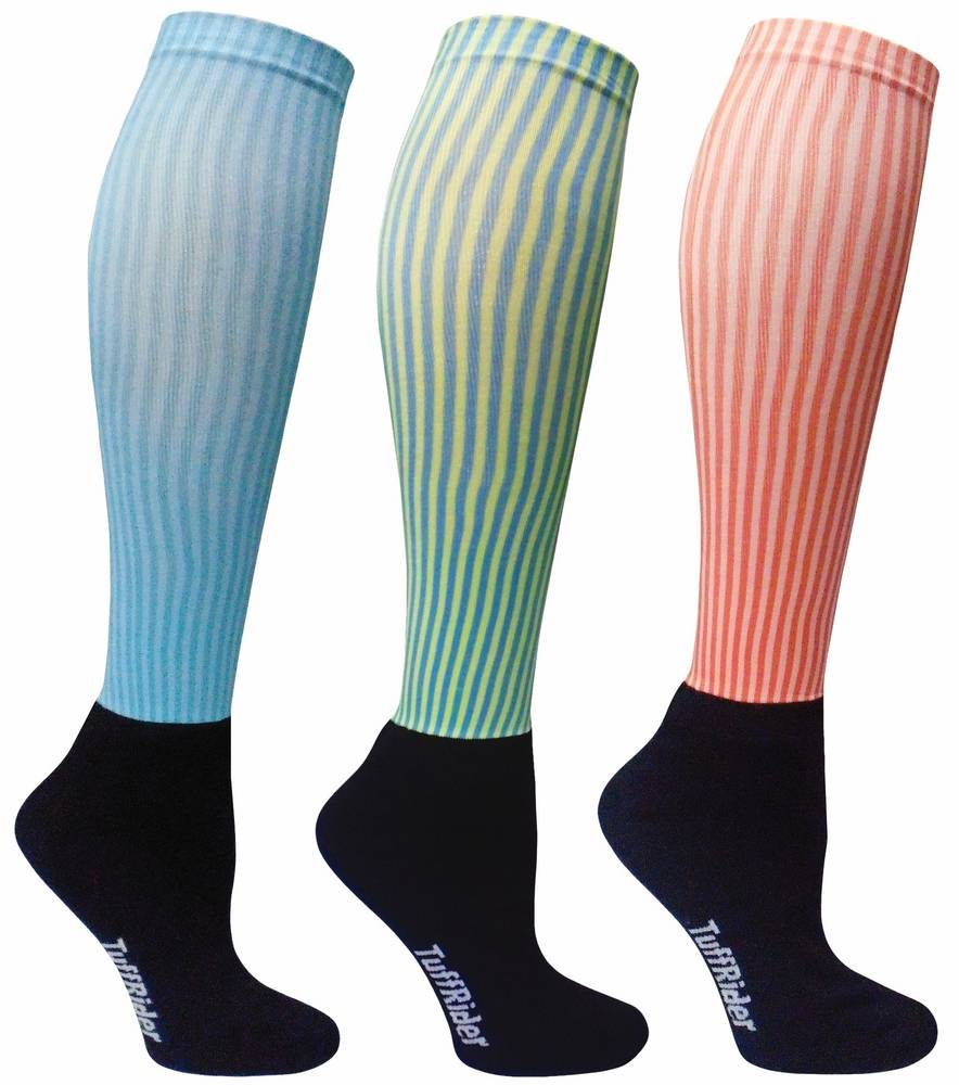Tuffrider Ladies' Winter Neon Stripe Socks - 3 Pack
