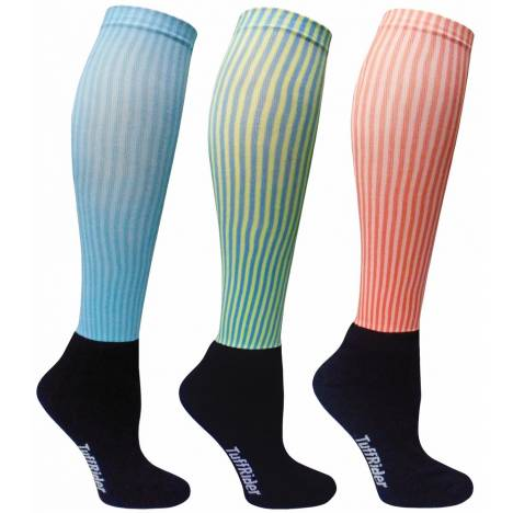 Tuffrider Ladies Winter Neon Stripe Socks - 3 Pack