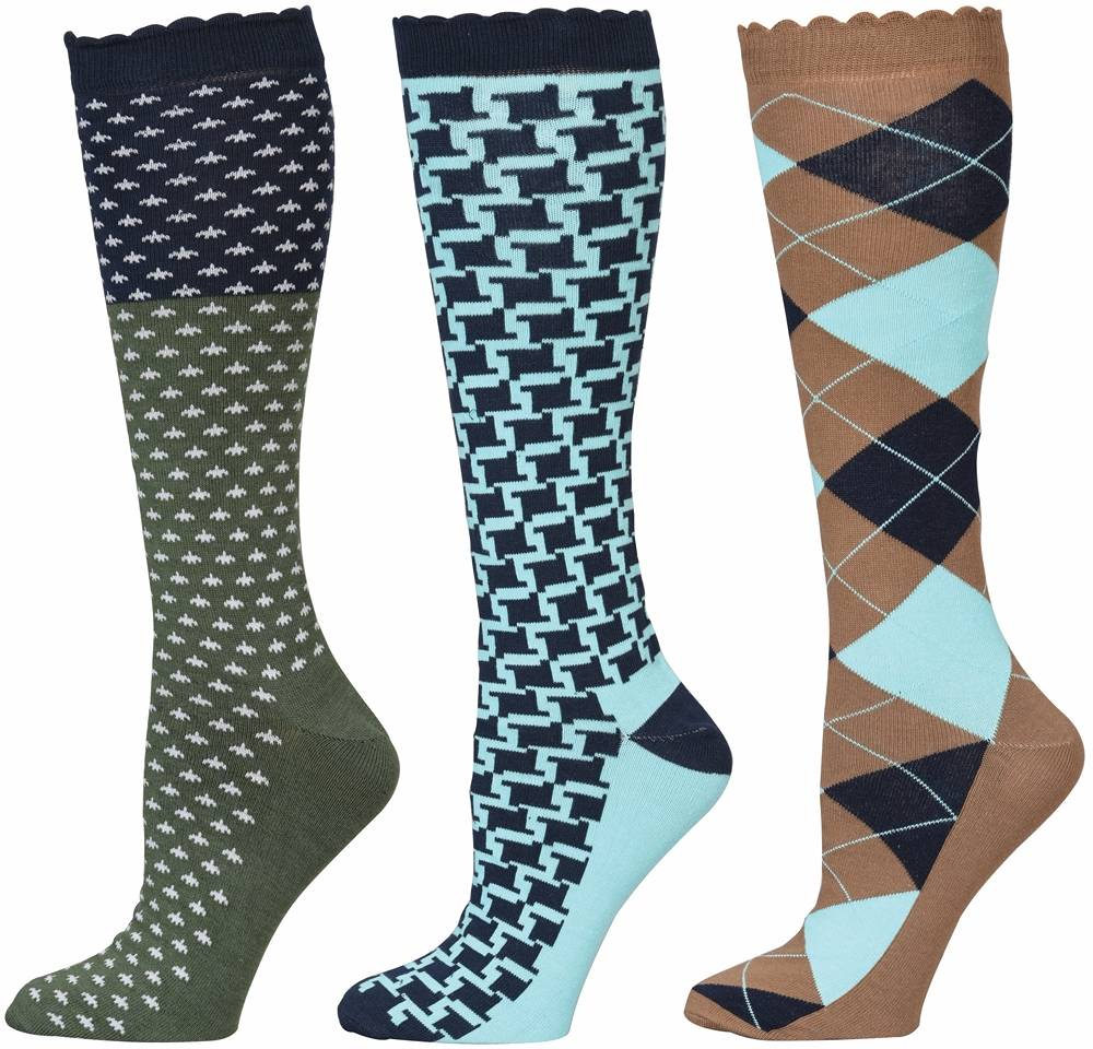 Equine Couture Ladies Blue Medley Socks