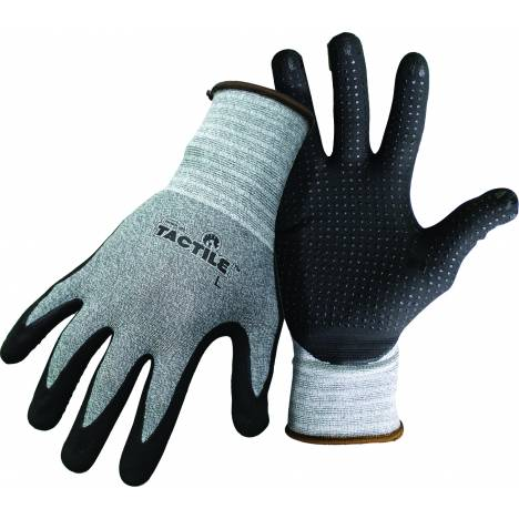 Boss Tactile Dotted Dipped Nitrile Palm Glove - Black/Gray - Large