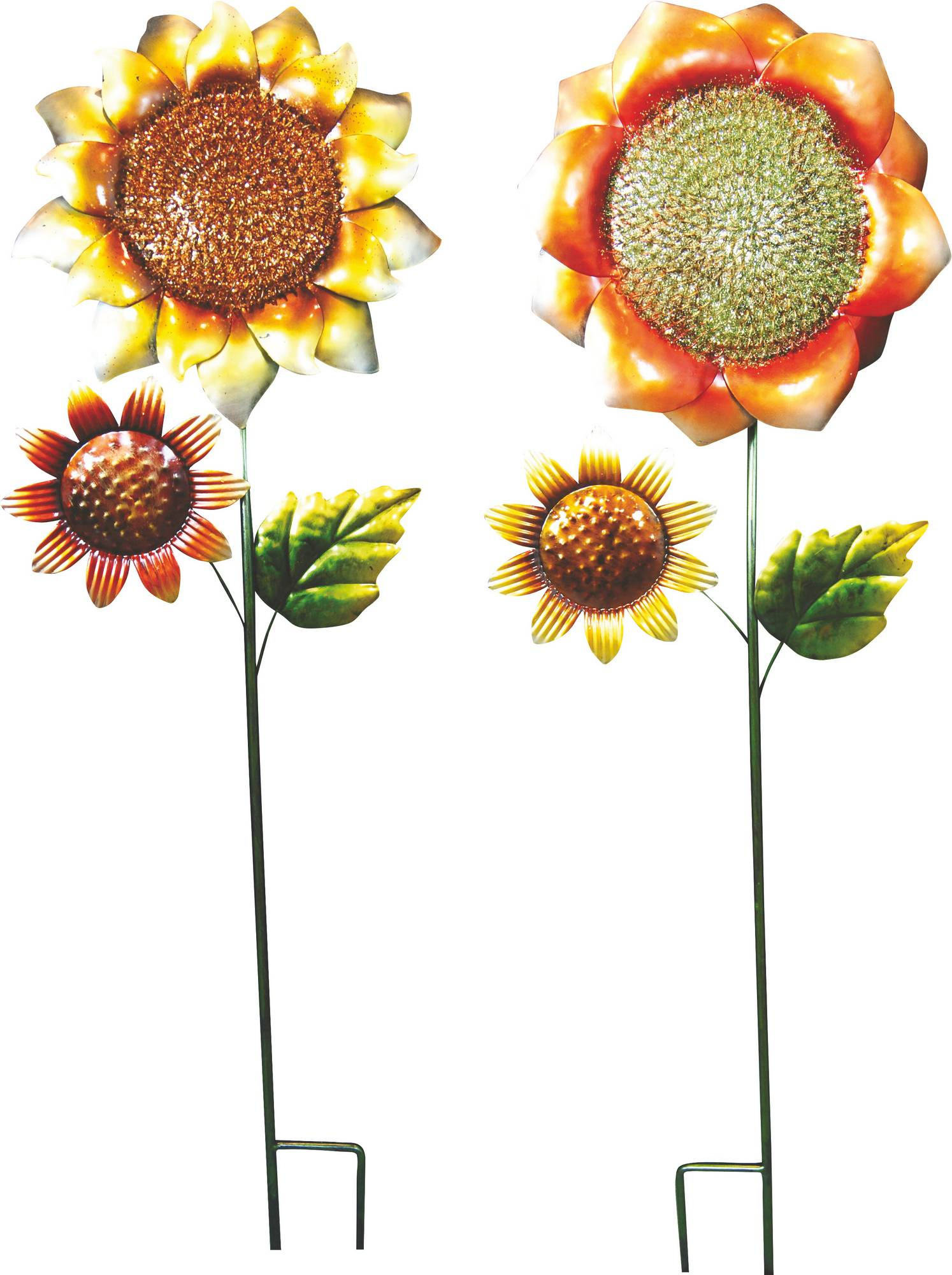 Metal Sunflower Garden Stake - Multicolored - 10 X 3 X 37''