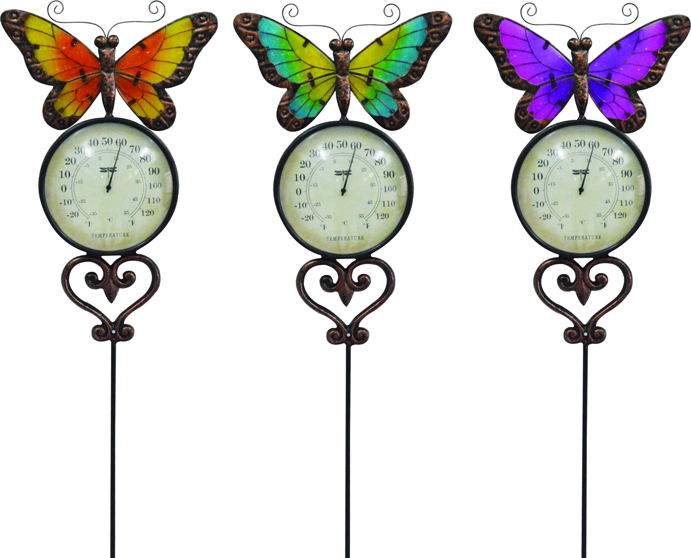 Butterfly Garden Stake With Thermometer - Assorted - 10 X 1 X 47''