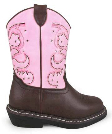 Smoky Mountain Child's Austin Lights Square Toe Boots - Pink