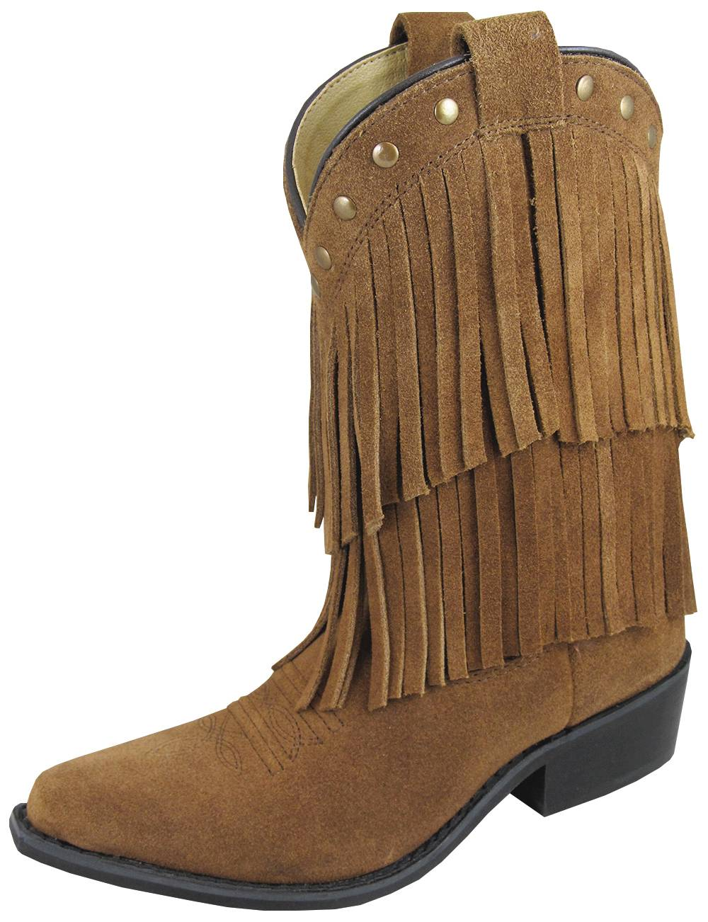 Smoky Mountain Youth Wisteria Double Fringe Leather Boots - Brown
