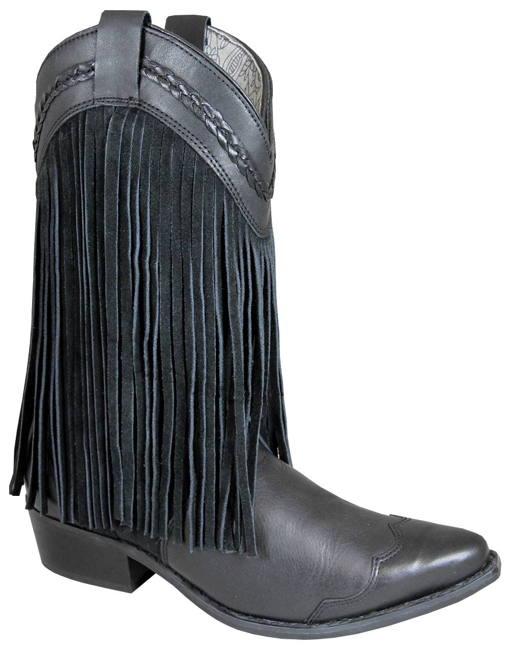 Smoky Mountain Womens Rosie Leather Suede Fringe Boots - Black