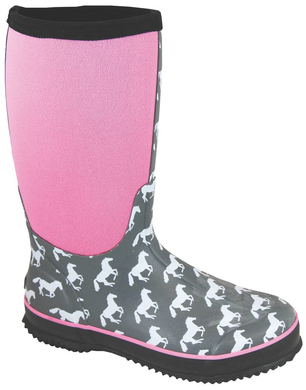 Smoky Mountain Womens Horses Amphibian Boots - Gray/Pink