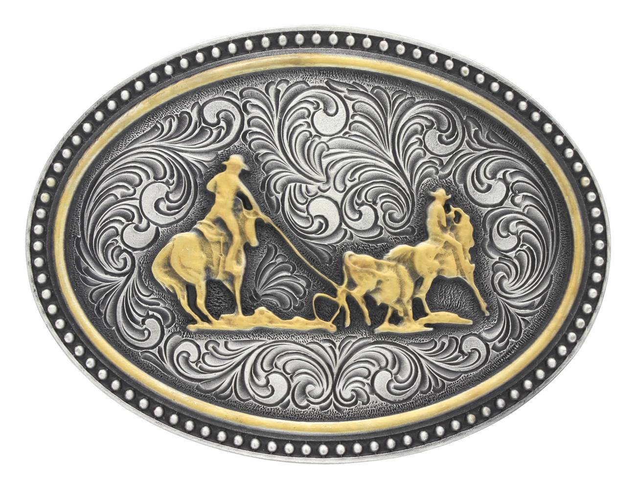 Montana Silversmiths Two-Tone Team Roping Attitude Buckle