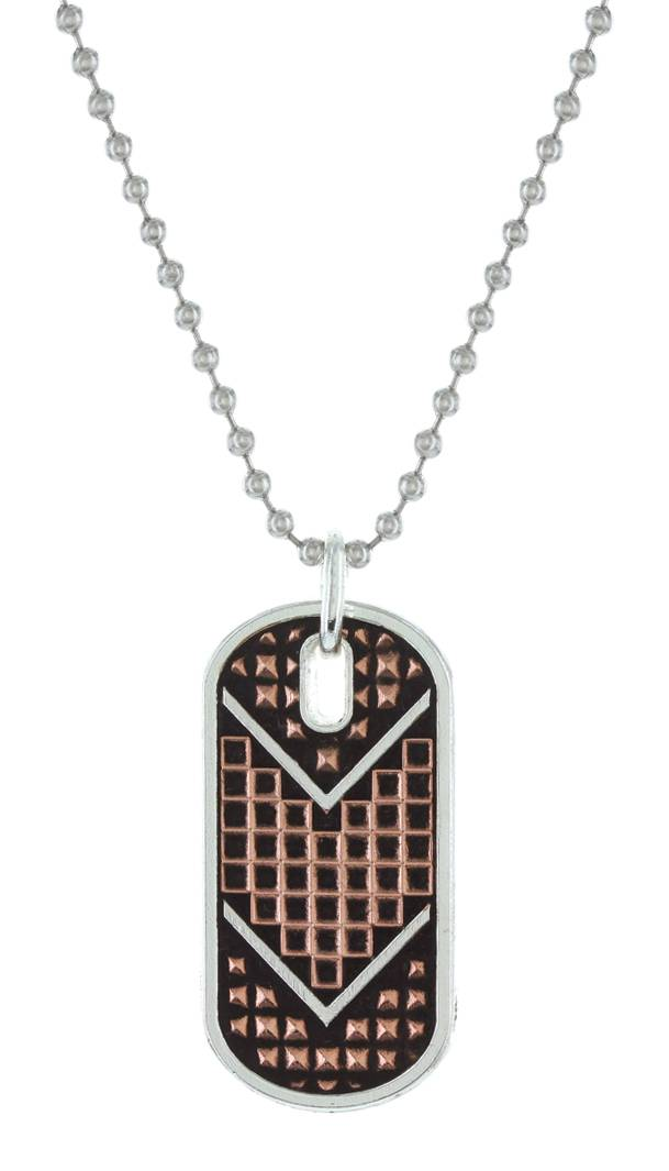 Montana Silversmiths Cross Cut Mesh & Bead Token Necklace