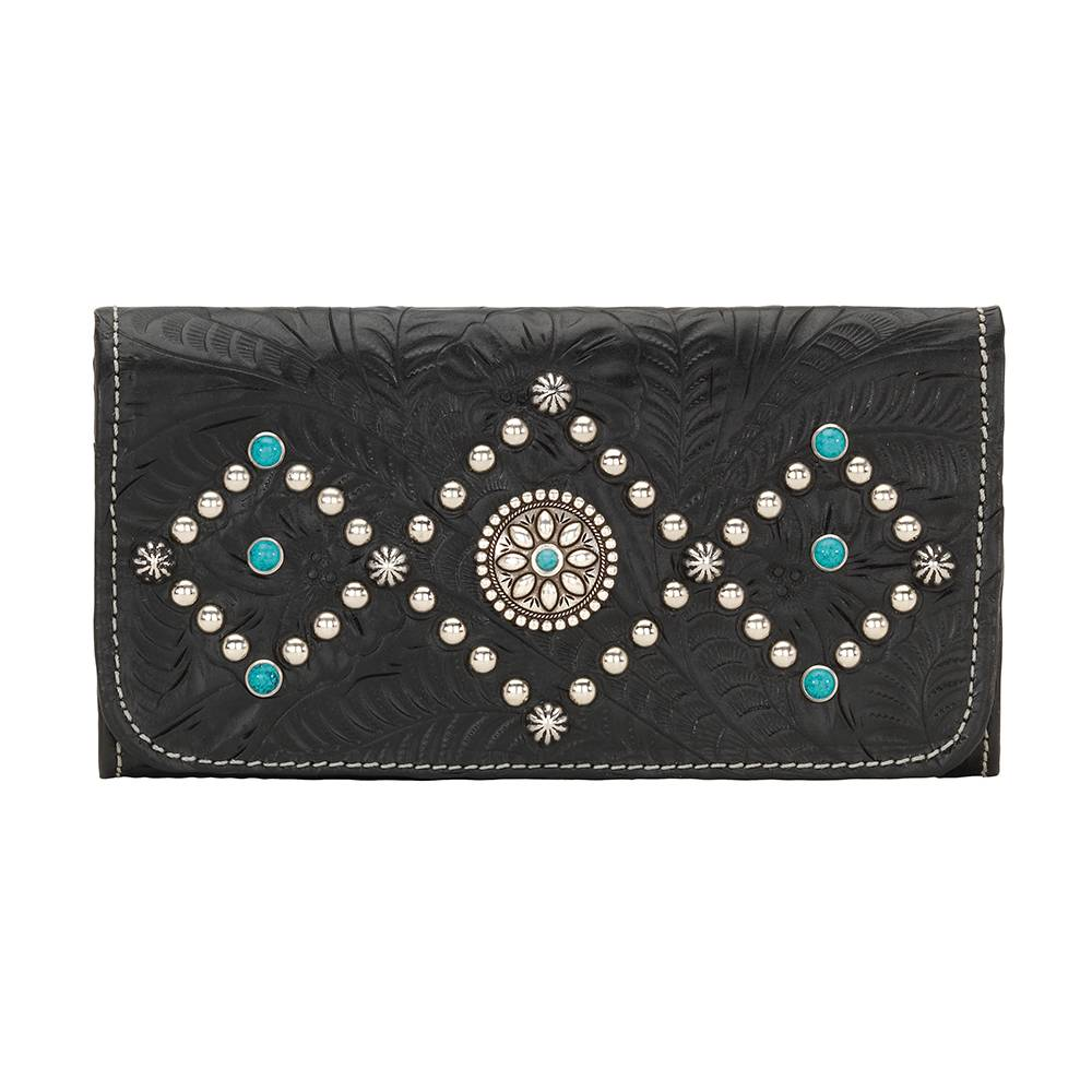 AMERICAN WEST Canyon Creek Tri-fold Wallet - Black