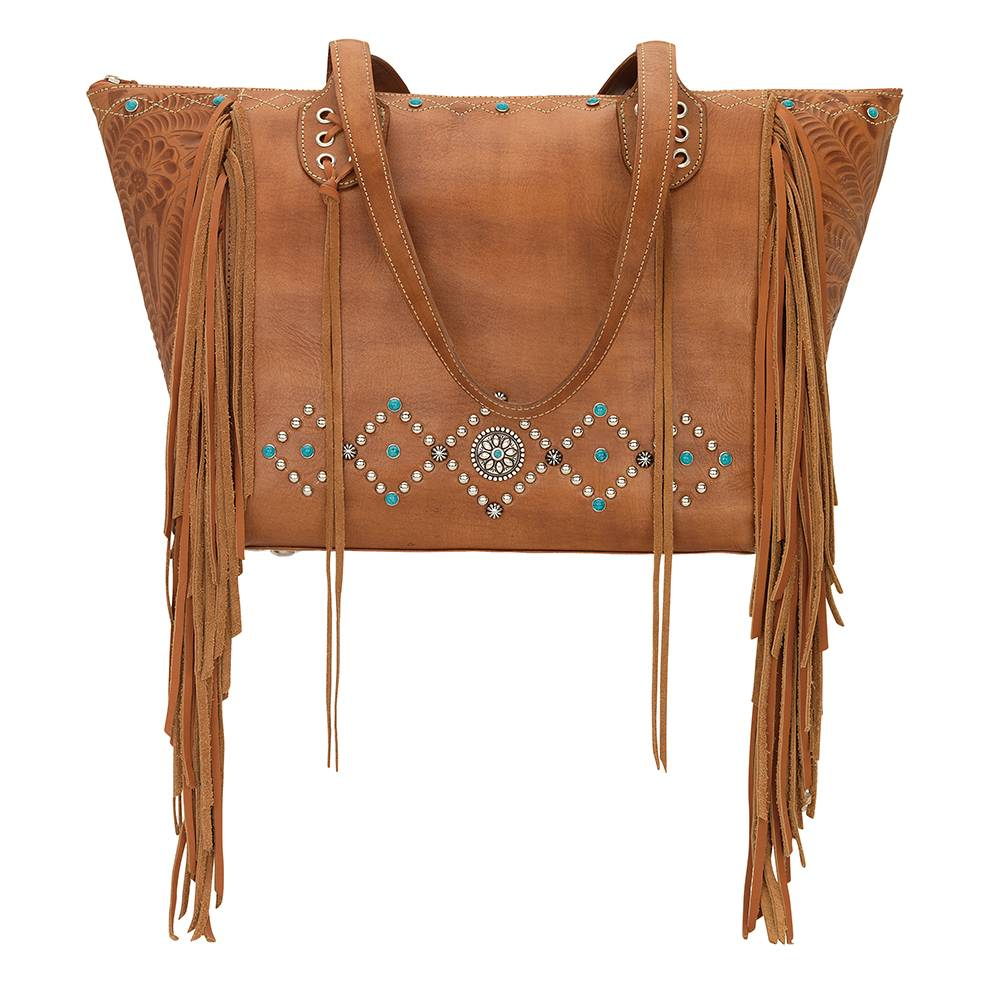 AMERICAN WEST Canyon Creek Zip-Top Fringe Tote - Tan