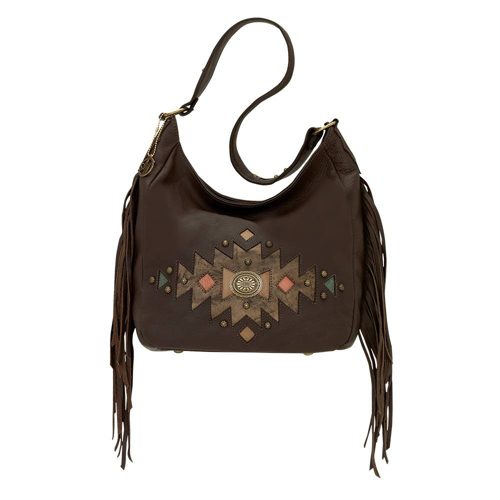 AMERICAN WEST Dream Catcher Slouch Zip Top Shoulder Bag - Brown
