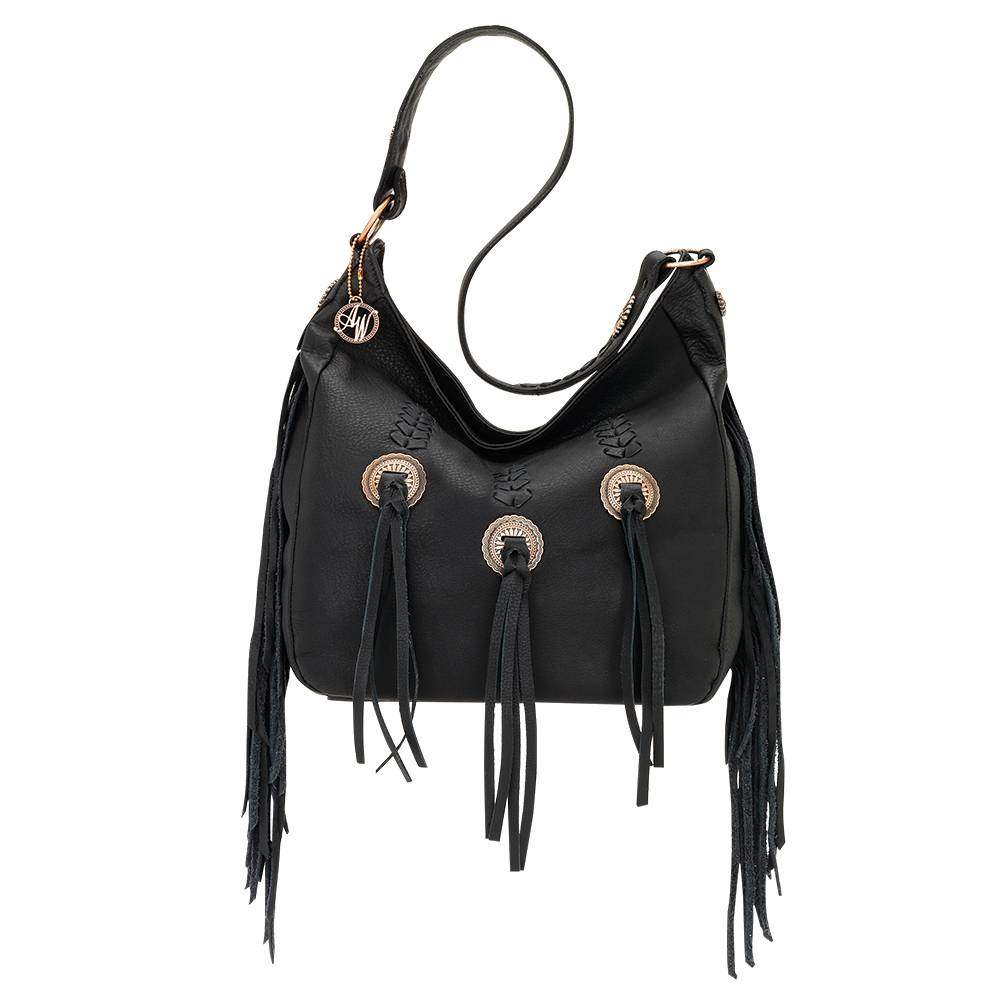 AMERICAN WEST Dream Catcher Slouch Zip Top Shoulder Bag - Black/Metal