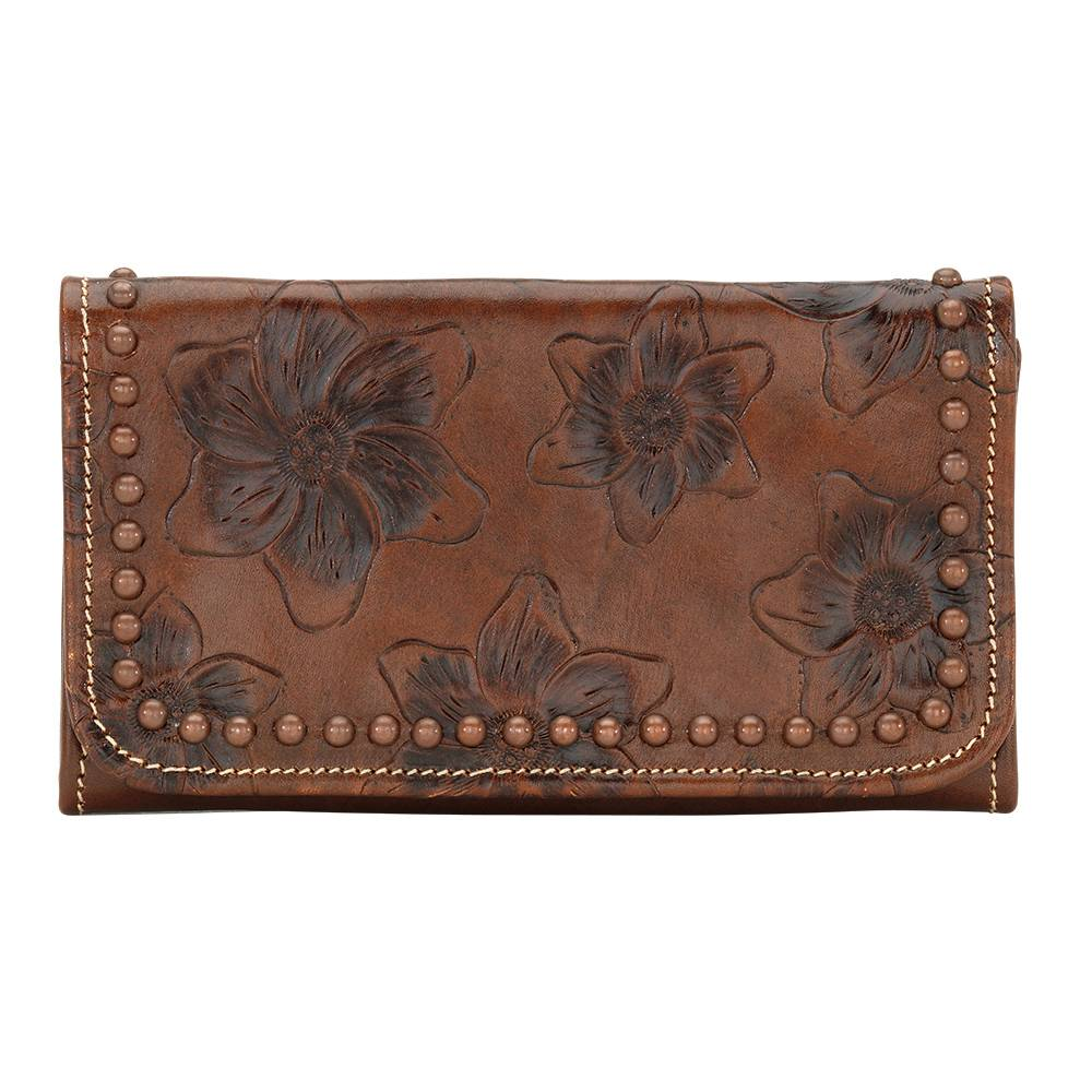 AMERICAN WEST Flower Child Tri-Fold Wallet - Brown
