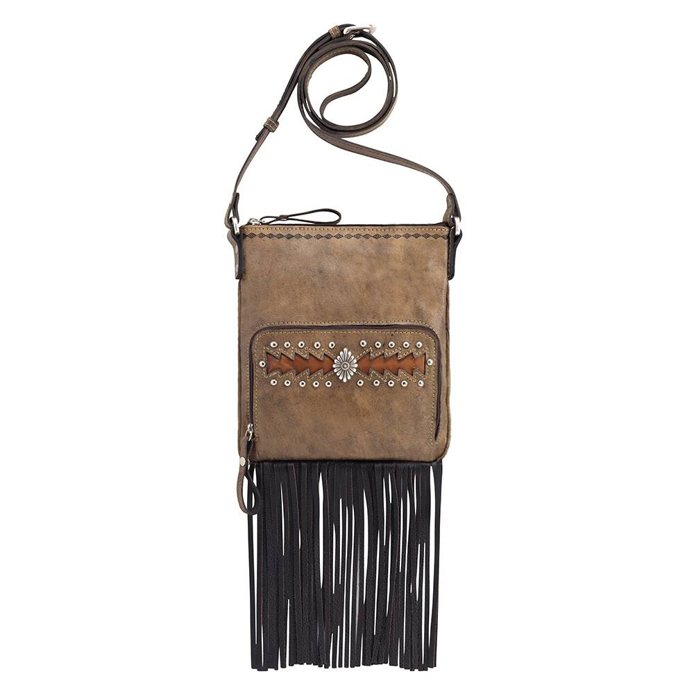 AMERICAN WEST Moon Dancer Crossbody Bag/Wallet - Brown/Tan