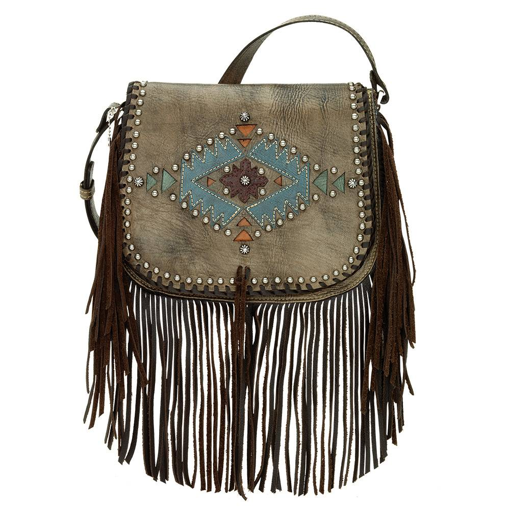 AMERICAN WEST Pueblo Moon Fringe Crossbody Flap Bag - Charcoal Brown