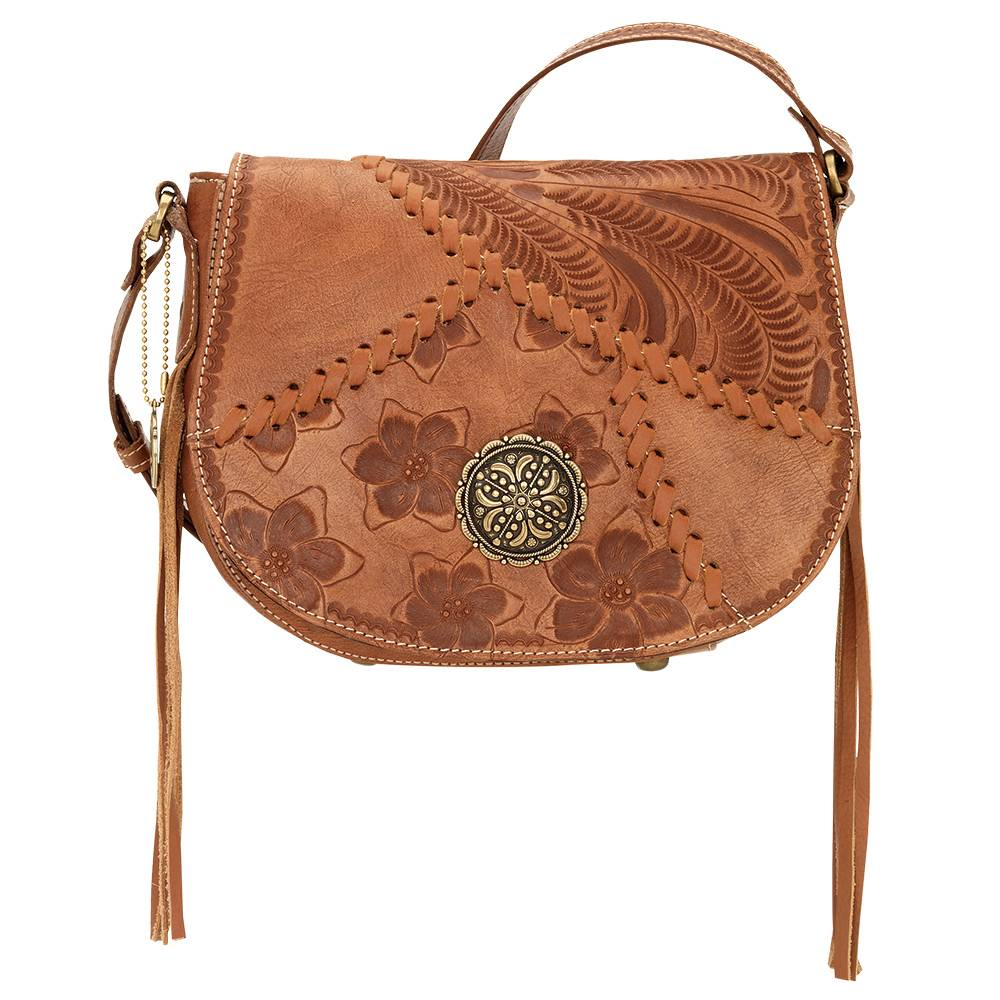 AMERICAN WEST Soho Groove Saddle Flap Crossbody Bag - Tan