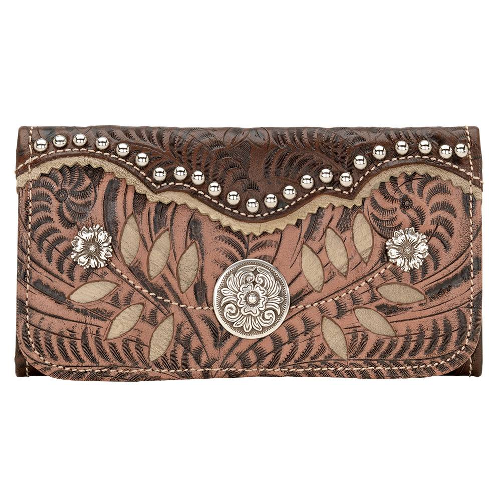 AMERICAN WEST Woodland Bloom Tri-Fold Wallet - Chestnut Brown
