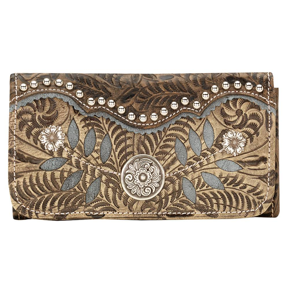 AMERICAN WEST Woodland Bloom Tri-Fold Wallet - Charcoal Brown