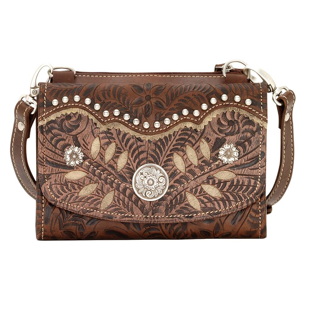 AMERICAN WEST Woodland Bloom Small Crossbody Bag/Wallet - Chestnut Brown
