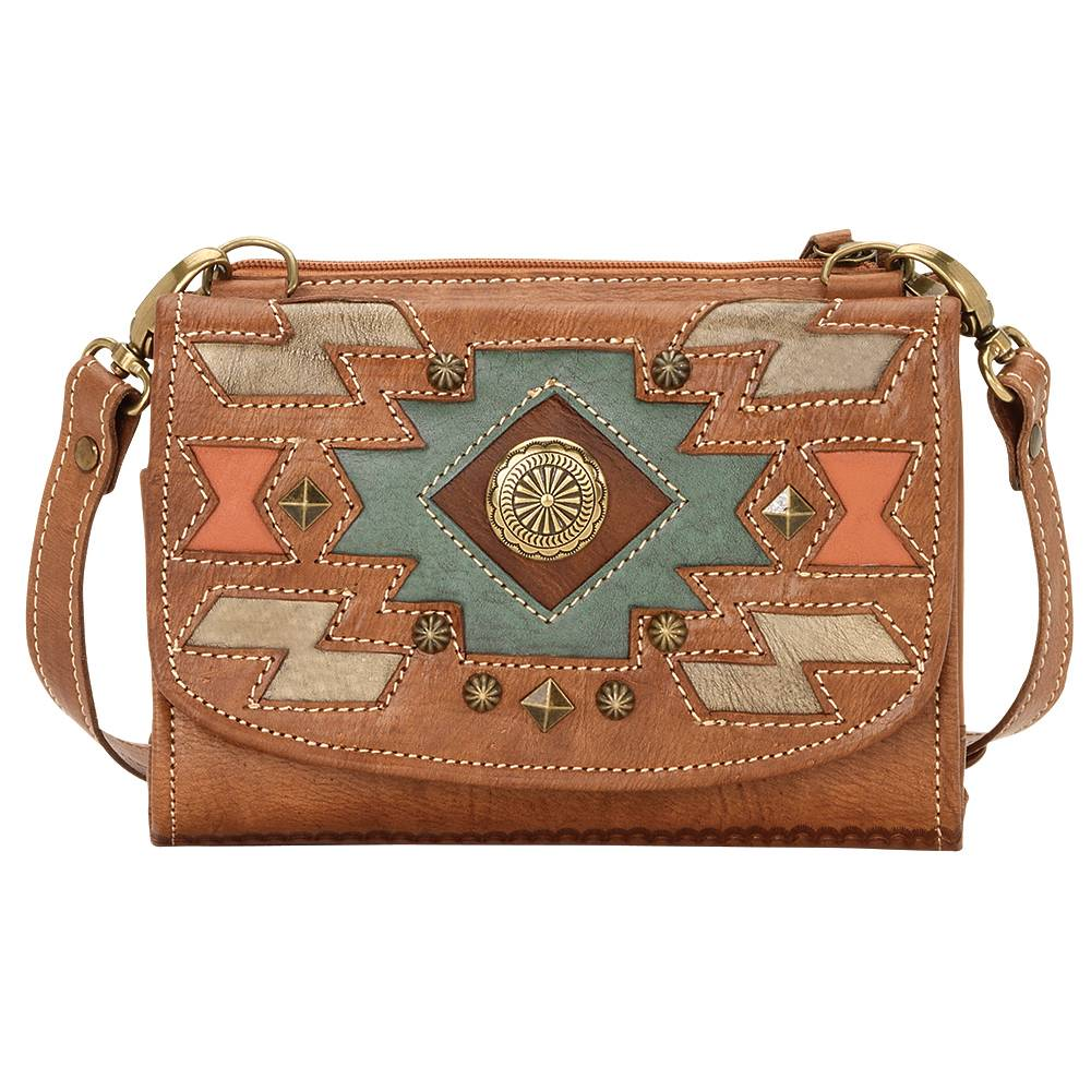 AMERICAN WEST Zuni Passage Small Crossbody Bag/Wallet - Tan