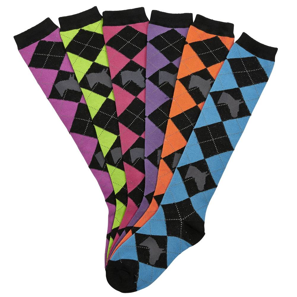 Ladies Horse Head Argyle Knee Socks - 6 Pack
