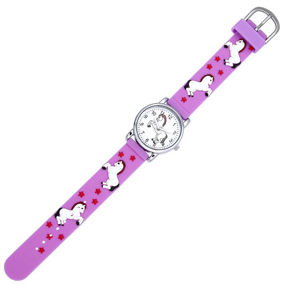 Kids' White Playful Horse Watch