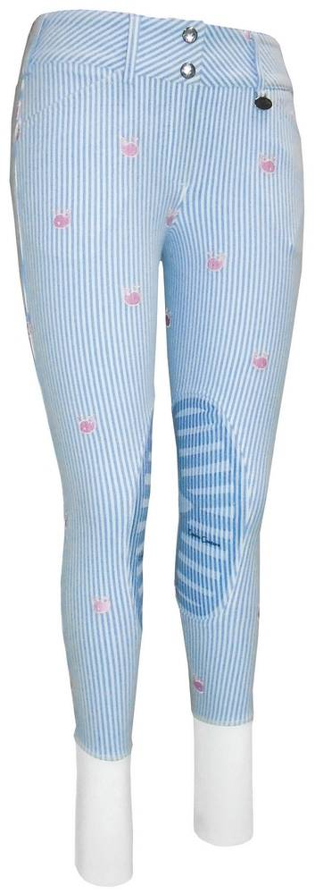 Equine Couture Ladies Stripe Whales Knee Patch Breeches