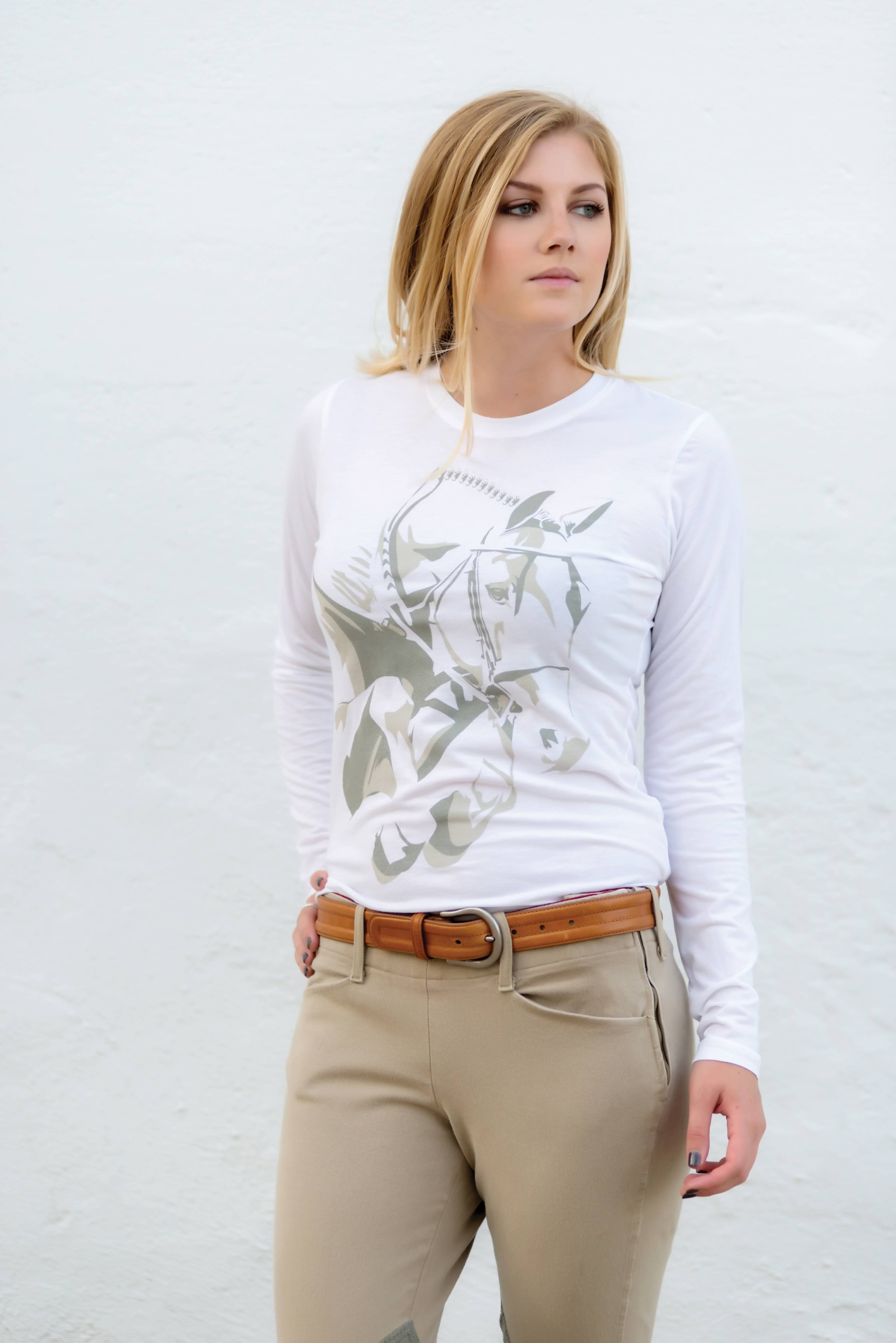 Genuine Equestrian Ladies Grand Prix Long Sleeve Crew Neck Tee