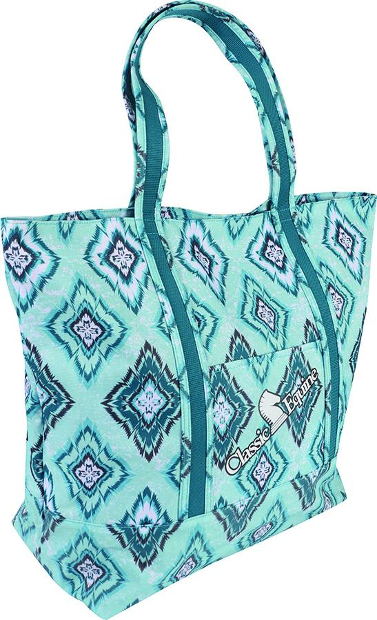 Classic Equine Large Tote - Teal Diamond