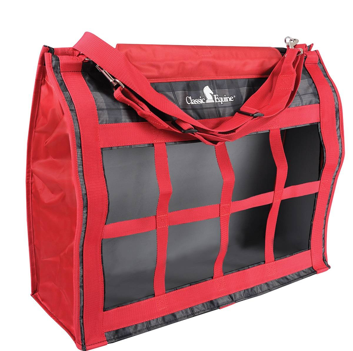 Classic Equine Topload Hay Bag - Plaid Red