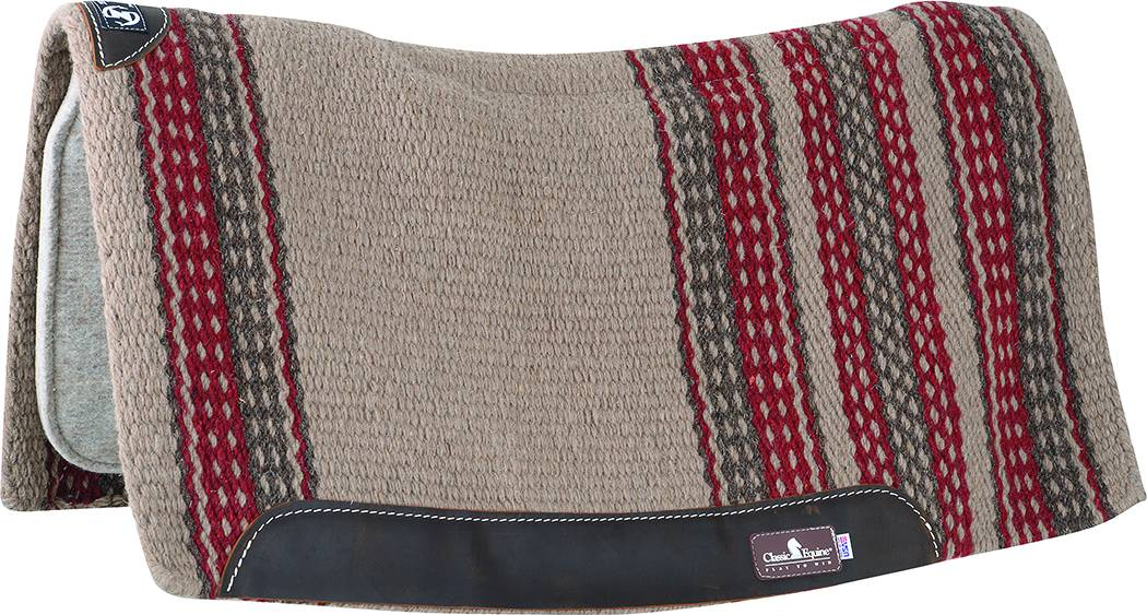 Classic Equine Zone Series Wool Blanket Top Western Pad - 34 x 38 x 3/4