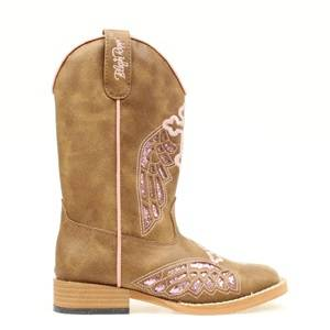 Blazin Roxx Kids Gracie Wing & Cross Western Boot - Pink/Brown