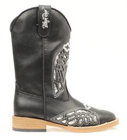 Blazin Roxx Youth Gracie Wing & Cross Western Boot - Silver/Black