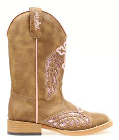 Blazin Roxx Youth Gracie Wing & Cross Western Boot - Pink/Brown