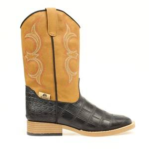 DBL Barrel Kids Bronc Gator Western Boot - Tan/Black