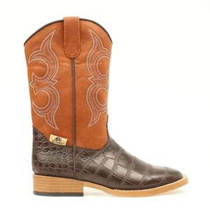 DBL Barrel Kids Bronc Gator Western Boot - Rust/Brown