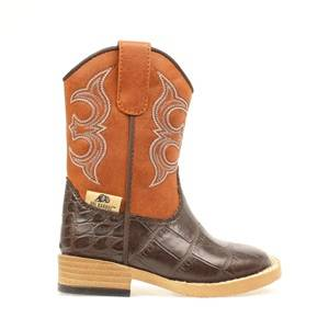 DBL Barrel Toddler Bronc Gator Western Boot - Rust/Brown