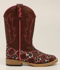 Blazin Roxx Youth Miley Patchwork Square Toe Western Boot - Brown