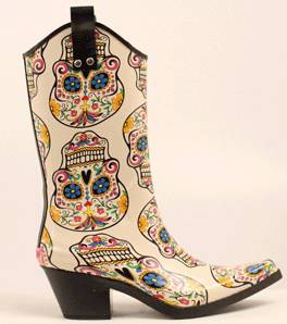 Blazin Roxx Ladies Roxy Sugar Skull Snip Toe Rain Boot