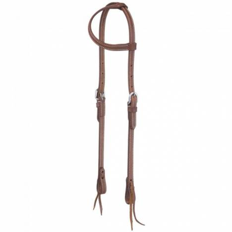 Tough-1 Double Stitched Harness Leather Single Ear Headstall With Tie Ends