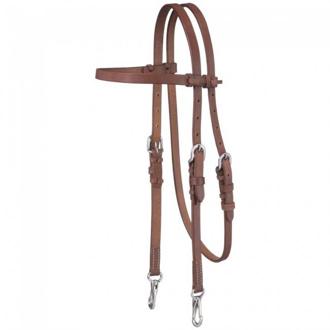 Tough-1 Harness Leather Browband Headstall With Snap Ends