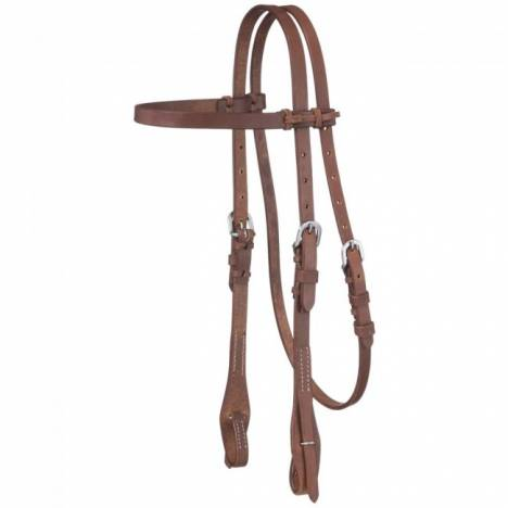 Tough-1 Harness Leather Browband Quick Change Headstall