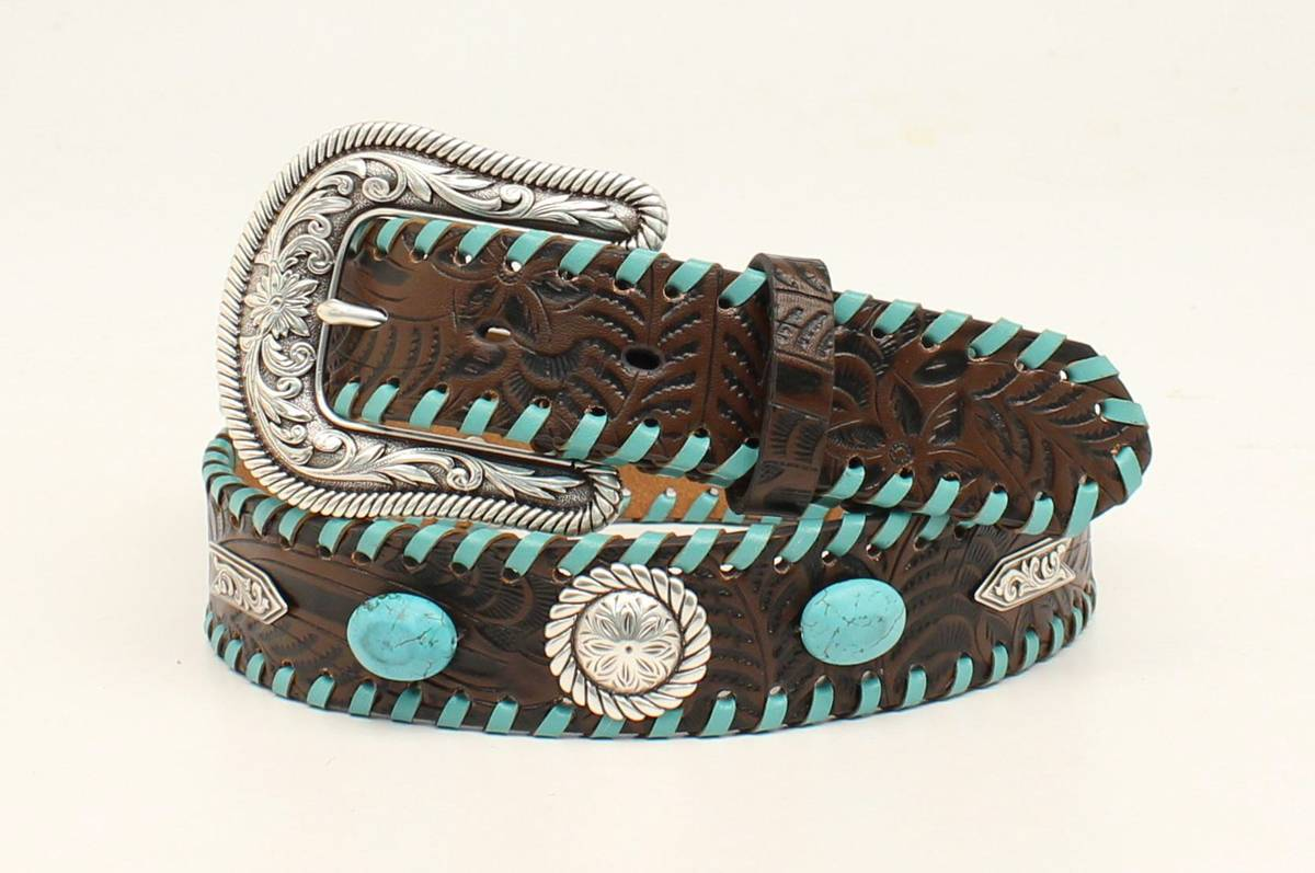 Nocona Ladies Arrow Concho Laced Belt And Buckle