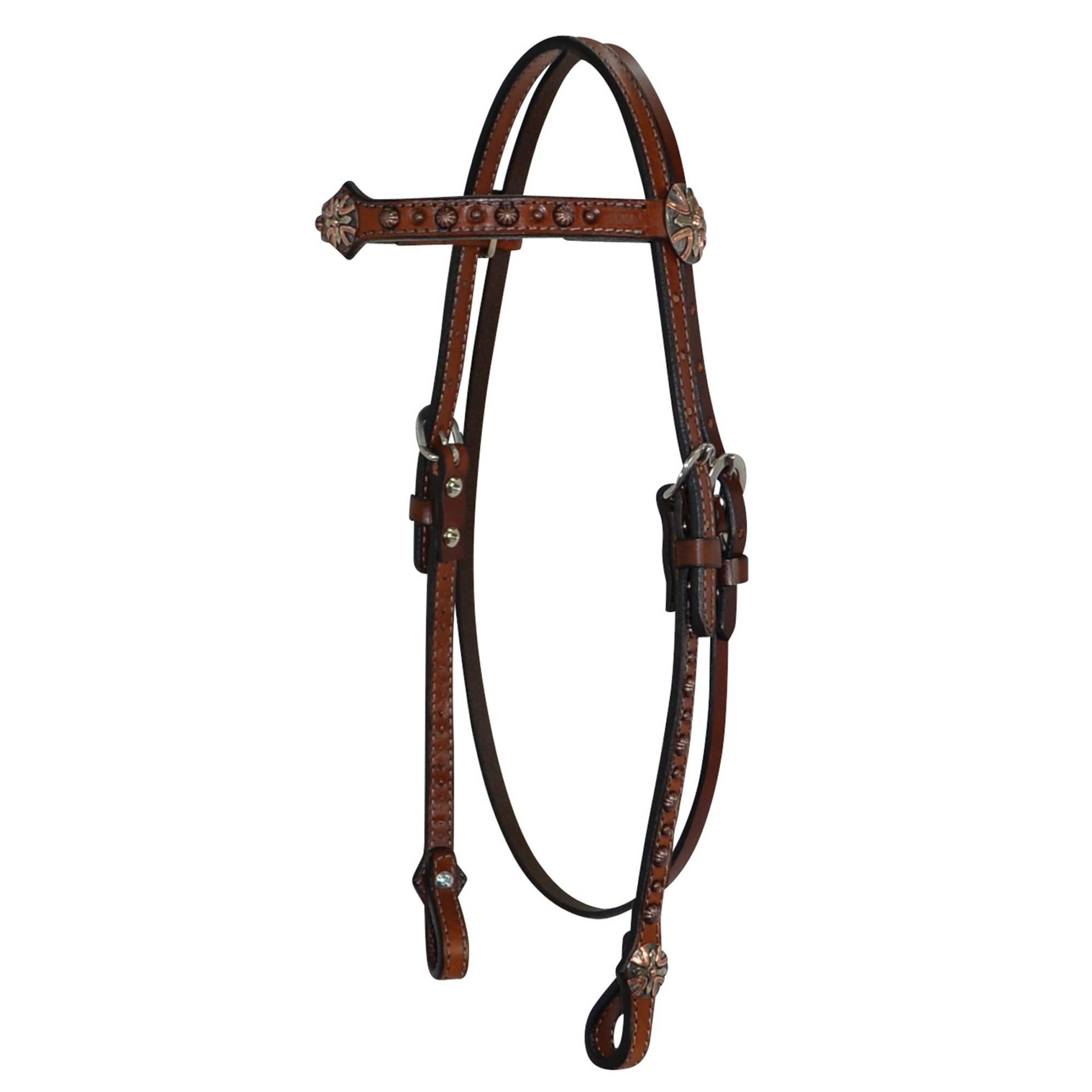 Circle Y Browband Copper Dot Shaped Headstall