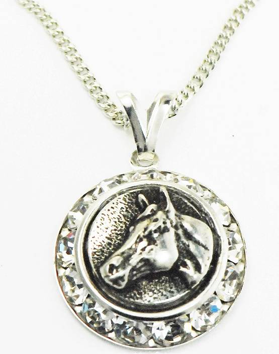 Western Edge Horsehead In Coin Crystals Necklace