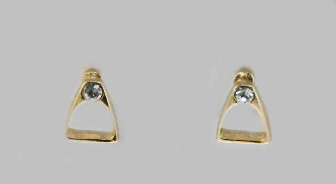 Western Edge Mini Stirrup Czech Crystal Stone Earrings