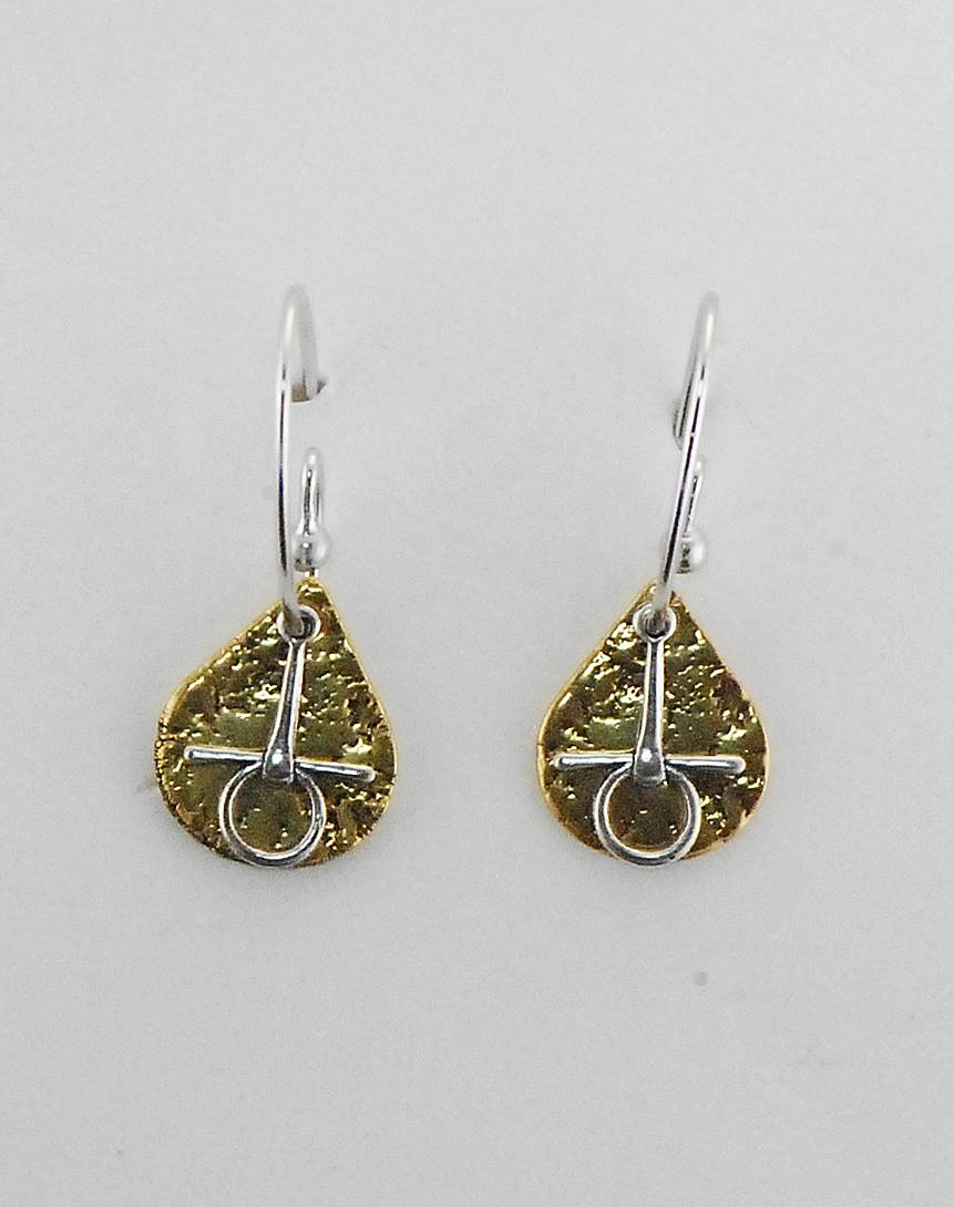 Finishing Touch Textured Teardrop With Snaffle Bit French Wire Earrings